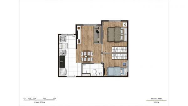 Econ Station Tucuruvi – Planta Valor Decorado Apartamento